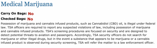 Previous TSA policy regarding medical marijuana and CBD oil