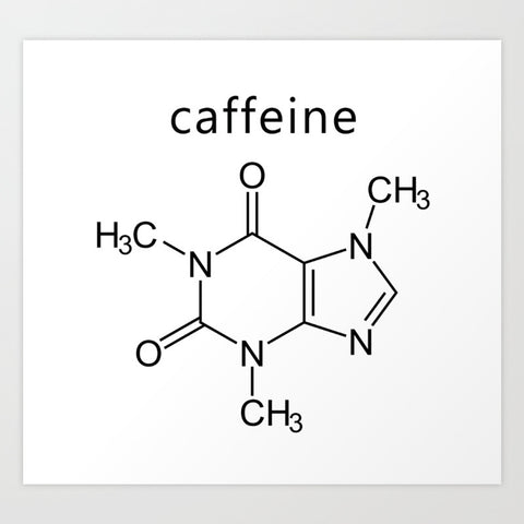 chemical structure of caffeine which can be added to drinks and taken with other supplements like cbd