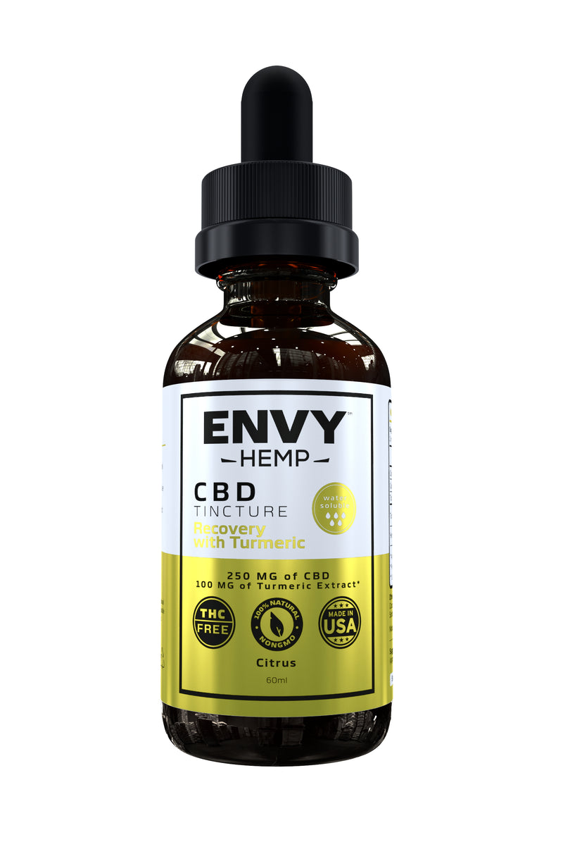 Recovery with Turmeric Water-Soluble CBD Tincture -CBD Envy Hemp