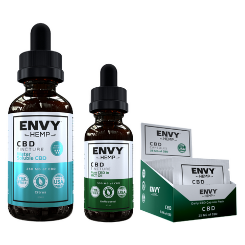cbd tinctures and capsules to be taken everyday for potential health benefits such as reduced anxiety, better sleep, anti-inflammatory, and others
