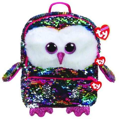 Beanie Boos Gear Sequins Owen Owl Backpack Square