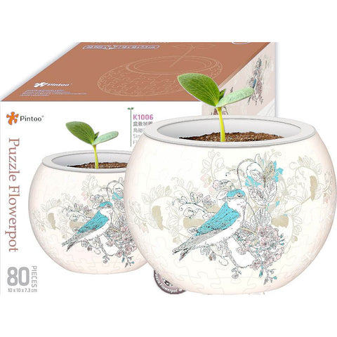 Pintoo - Birds and Flower 3D Flower Pot Puzzle