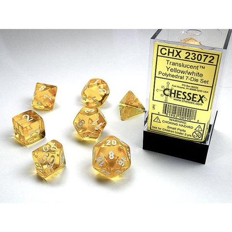 CHX 23072 Translucent Polyhedral Yellow/White 7-Die Set