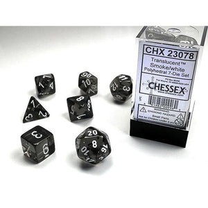 CHX 23078 Translucent Polyhedral Smoke/White 7-Die Set