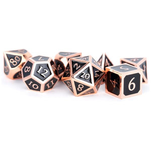 MDG Metal Polyhedral Dice Set - Antique Cooper/ Balck Enamel