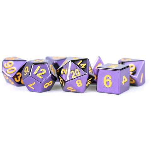 MDG Metal Polyhedral Dice Set - Purple Painted
