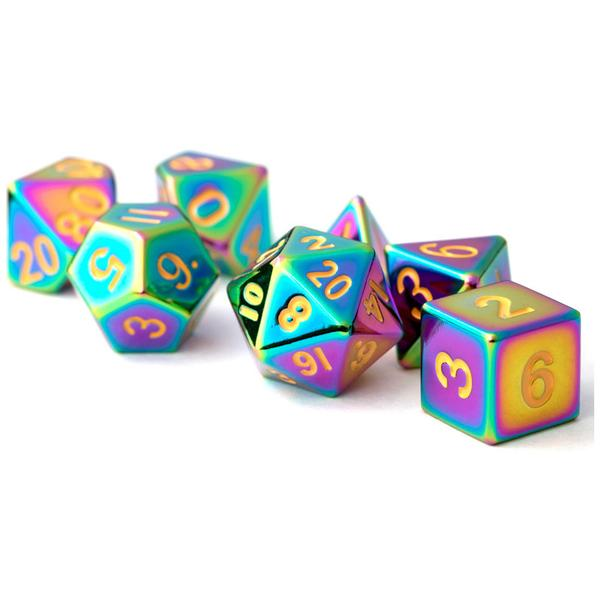 MDG Polyhedral Dice Set - Torched Rainbow