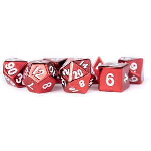 MDG Metal Polyhedral Dice Set - Red Painted