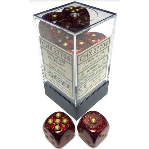 D6 Dice Glitter 16mm Ruby/Gold (12 Dice in Display)