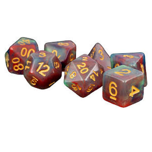 MDG Polyhedral Resin Dice Set - Red Pearl Swirl