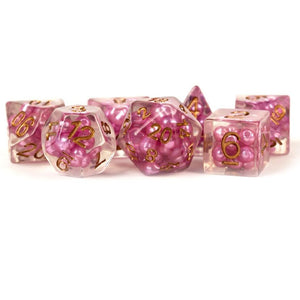 MDG Resin Pearl Polyhedral Dice Set 16mm - Pink with Copper Numbers