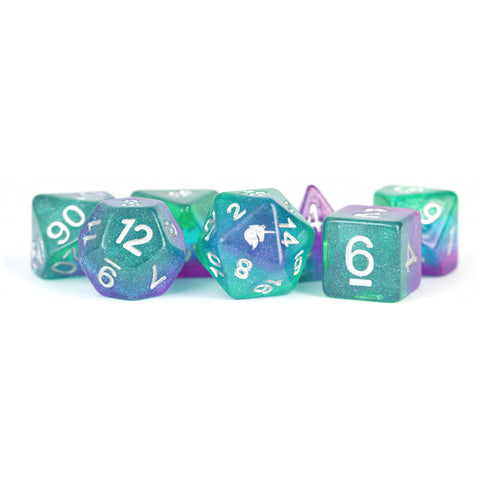 MDG Unicorn Resin Polyhedral Dice Set - Aurora