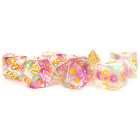 MDG Unicorn Resin Polyhedral Dice Set - Celestial Blossom