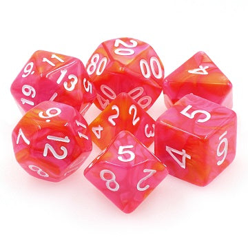 TMG RPG Dice - Dragons Blaze Orange/Rose Fusion 16mm (set of 7)