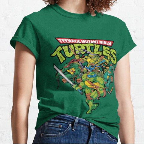 Teenage Mutant Ninja Turtle Kickin Shell Womens TShirt Medium