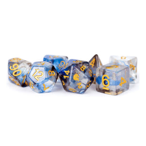MDG Unicorn Resin Polyhedral Dice Set - Arctic Storm