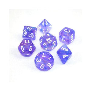 D7-Die Set Dice Borealis Polyhedral Purple/White (7 Dice in Display)