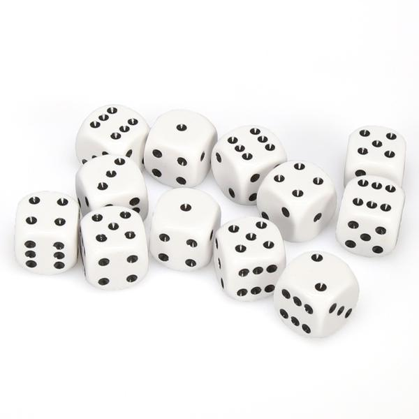 D6 Dice Opaque 16mm White/Black (12 Dice in Display)