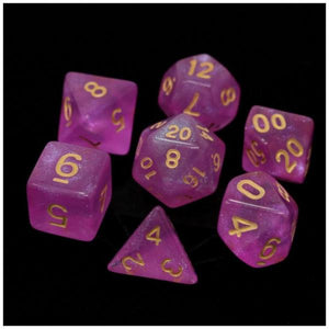 Die Hard Dice Polymer RPG Polyhedral Set -  Sakura with Gold