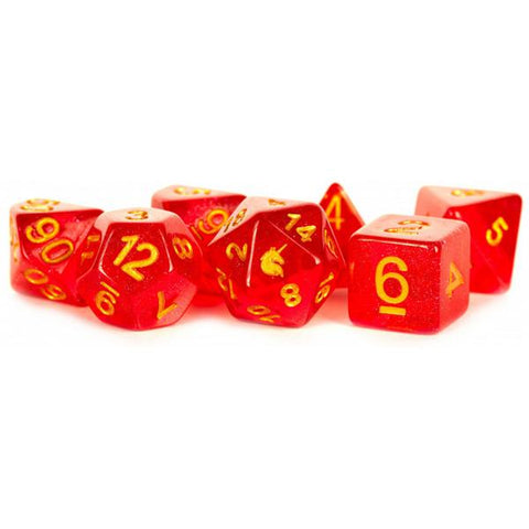 MDG Unicorn Resin Polyhedral Dice Set - Red