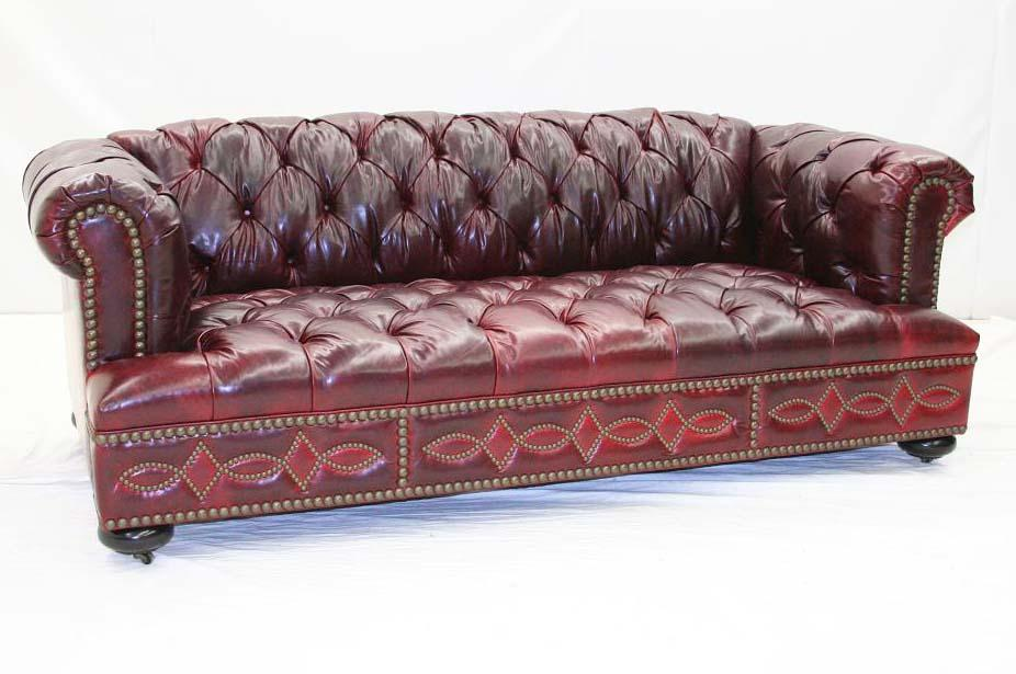 Tufted Red Leather Sofa - Old Hickory Tannery