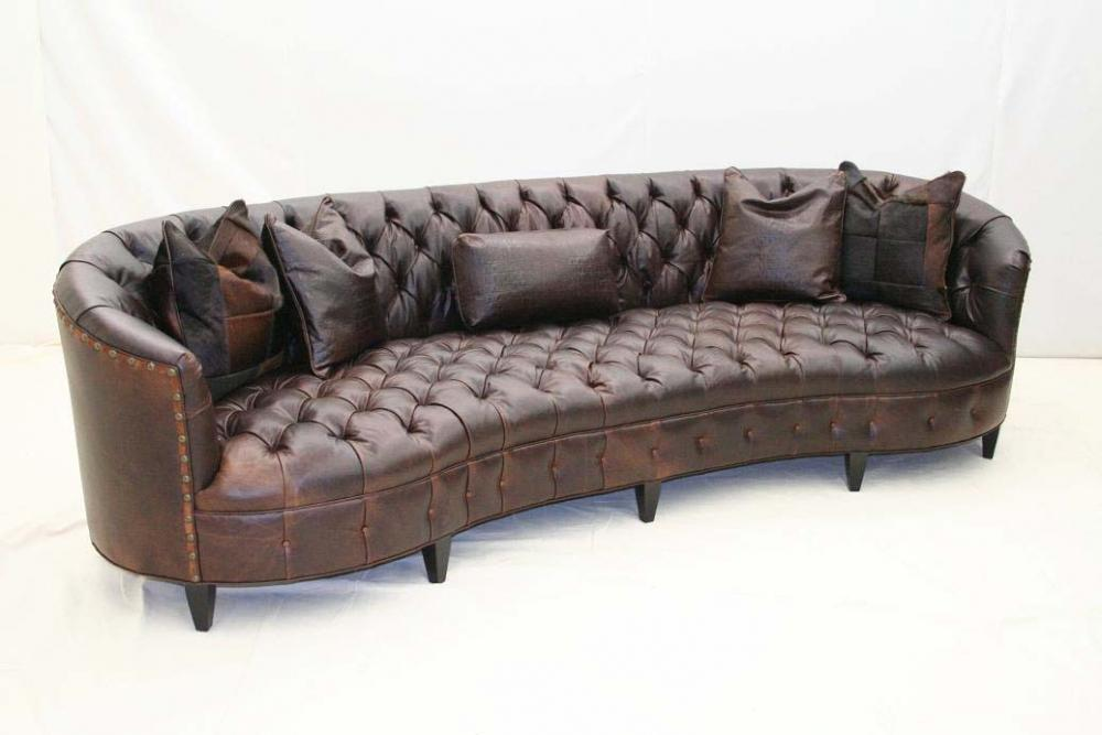 Curved Tufted Leather Sofa - Old Hickory Tannery