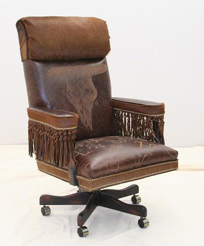 Broken Skull Western Office Chair - Old Hickory Tannery