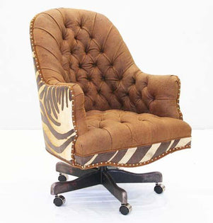 Copper Leather Tufted Office Chair - Old Hickory Tannery