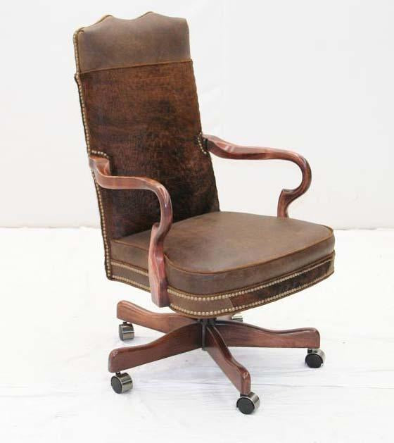 Brindle Hair on Hide Office Chair - Old Hickory Tannery