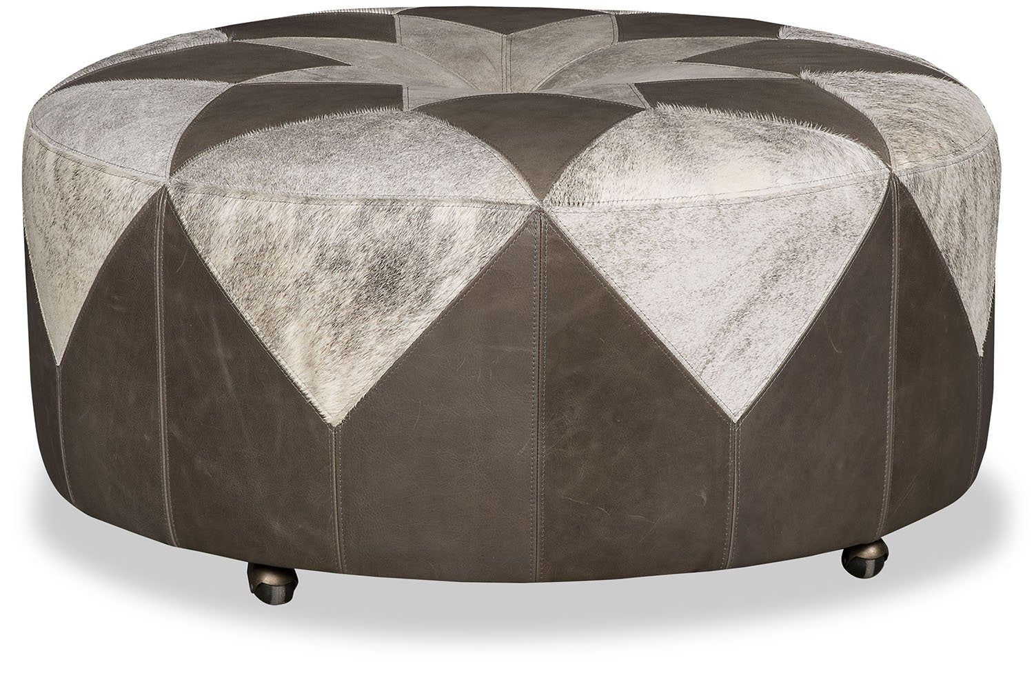Tristin Patches Leather and Cowhide Ottoman - Grey