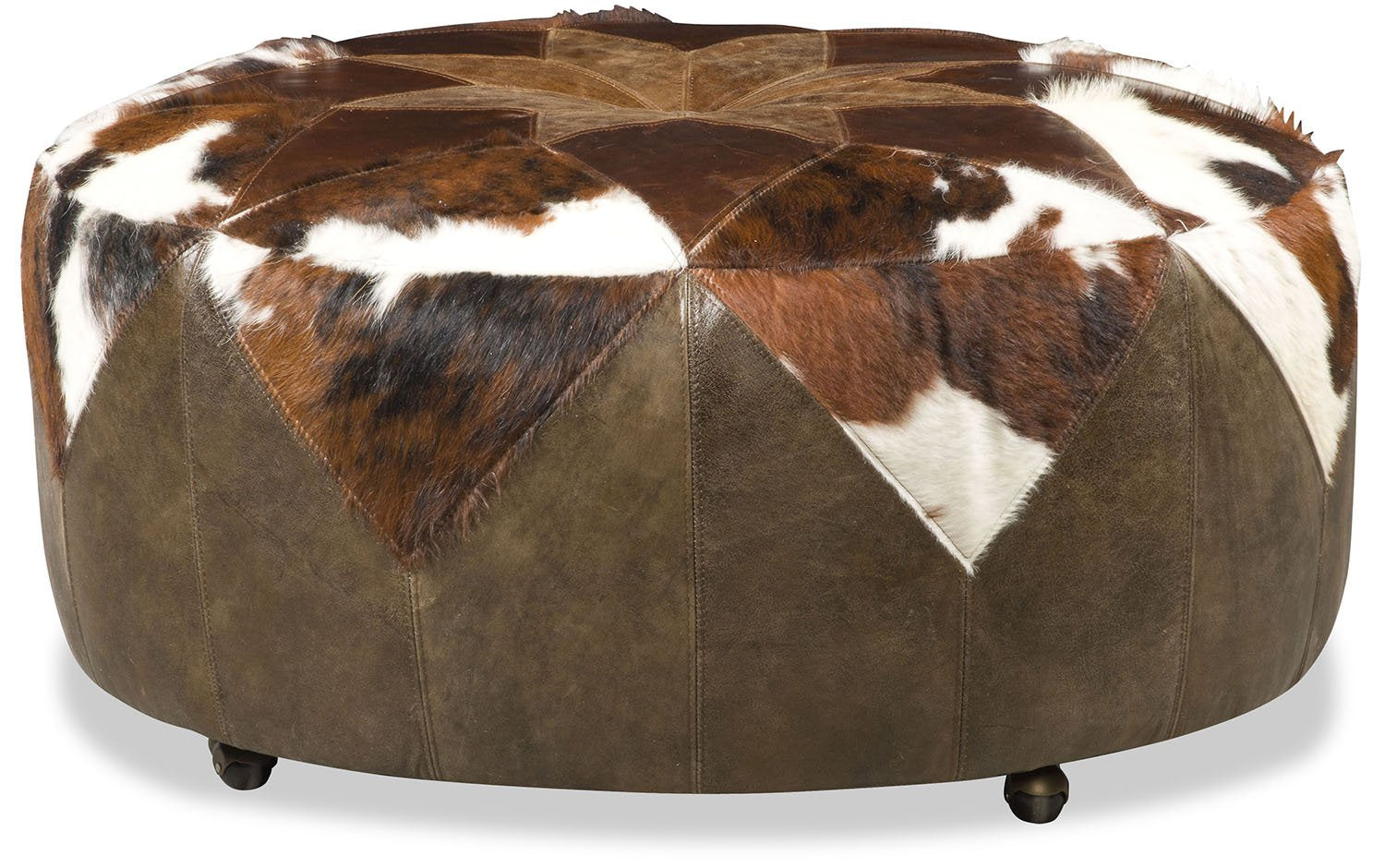 Tristin Patches Leather and Cowhide Ottoman - Tricolor