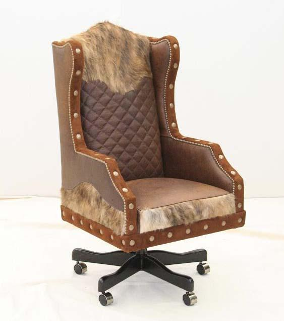Wolf Accent Western Office Chair - Old Hickory Tannery