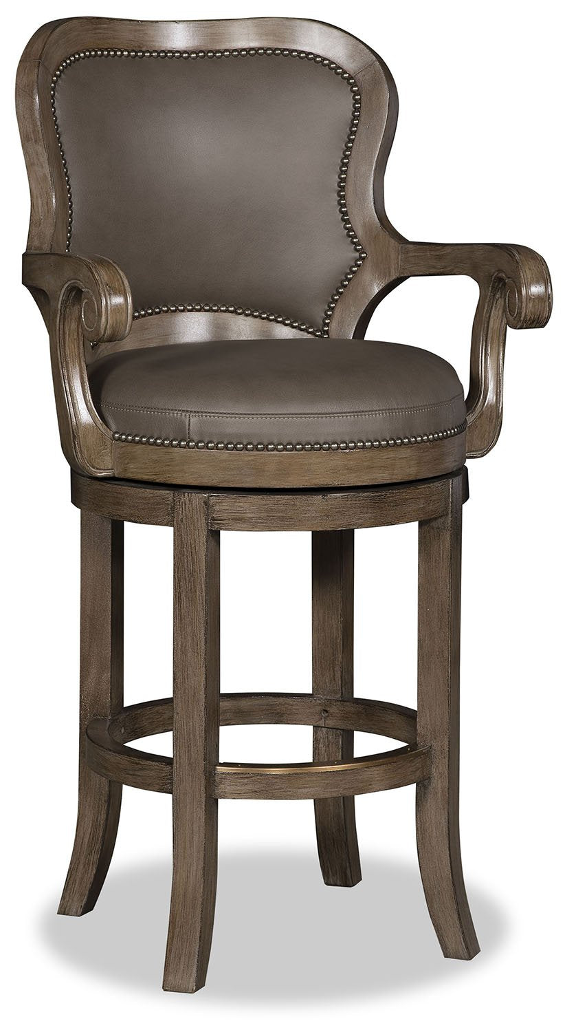 Terrific Nate Leather Swivel Barstool Smooth Chocolate Theyellowbook Wood Chair Design Ideas Theyellowbookinfo