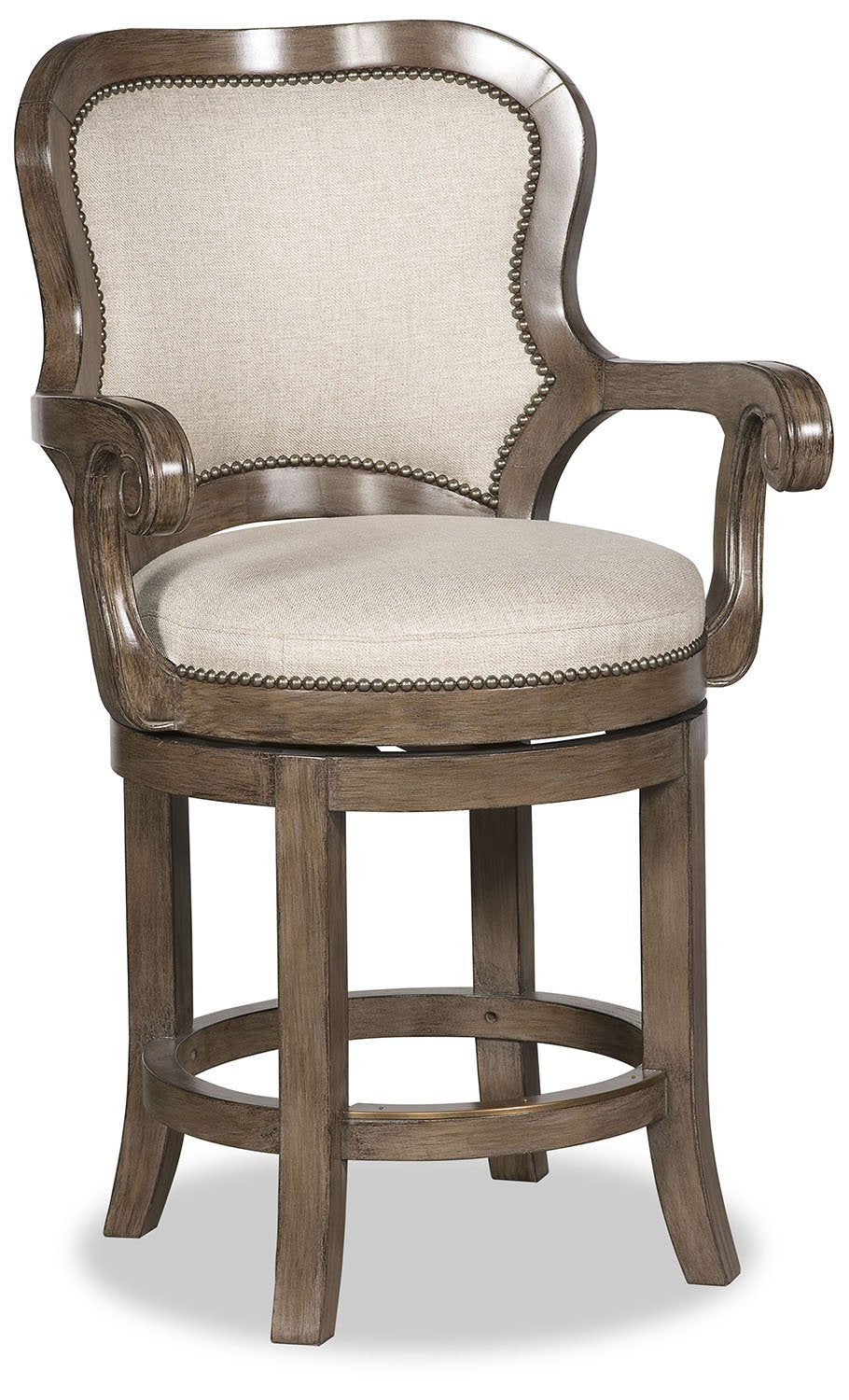 Nate Fabric Swivel Barstool - Light