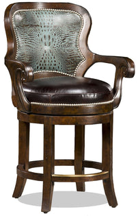 Nate Leather Swivel Barstool - Turquoise Croc