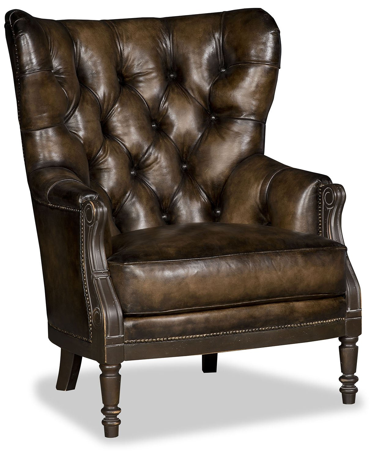 Coby Chair in Walnut Tufted Leather