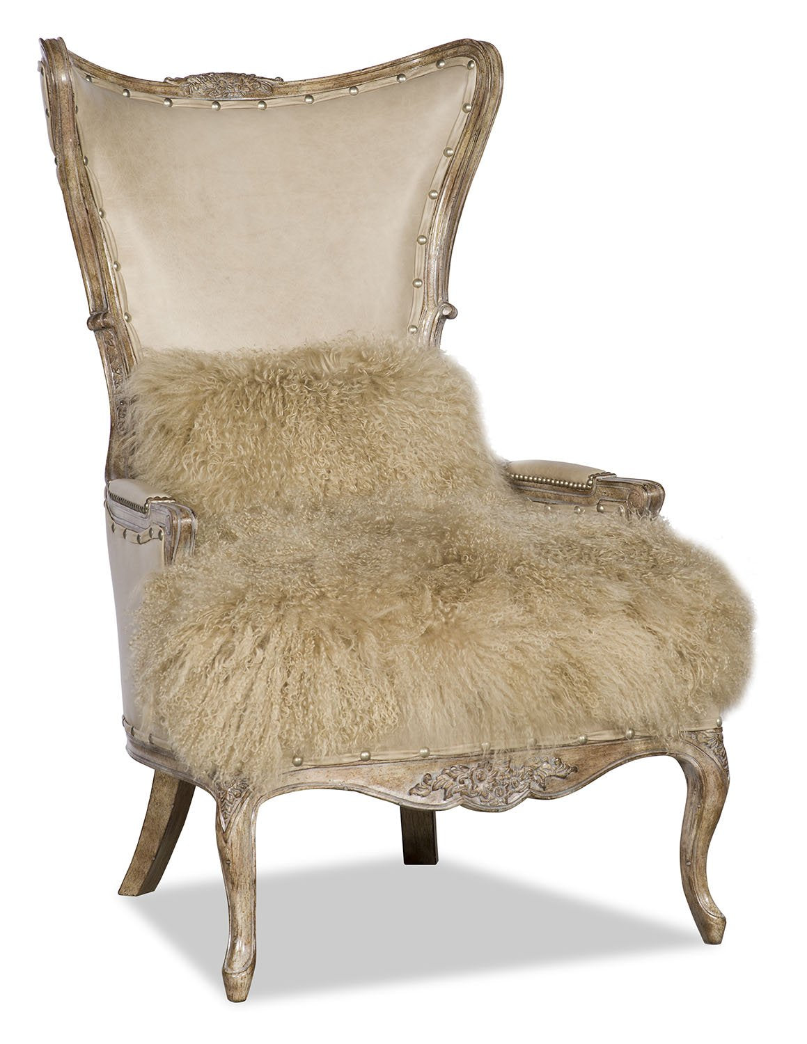 Danice Leather and Tibetan Fur Chair