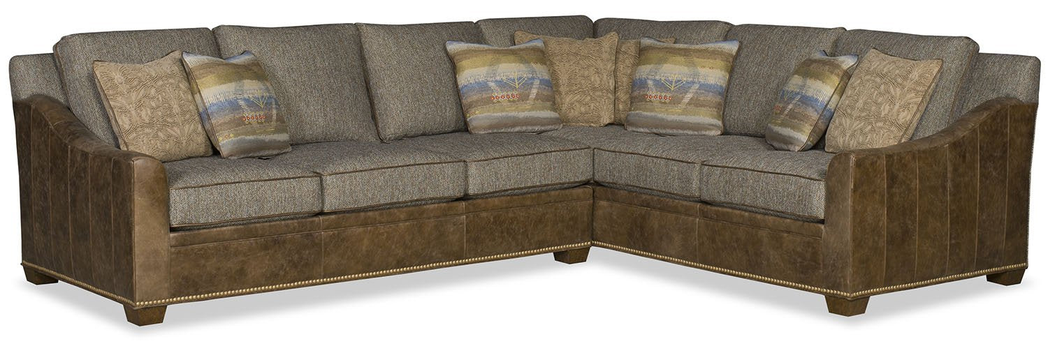 Choices Grande Sectional Fabric and Leather - Grey with Brown