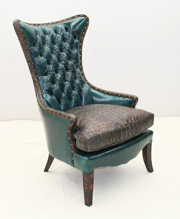 Deep Turquoise Wing Chair - Old Hickory Tannery