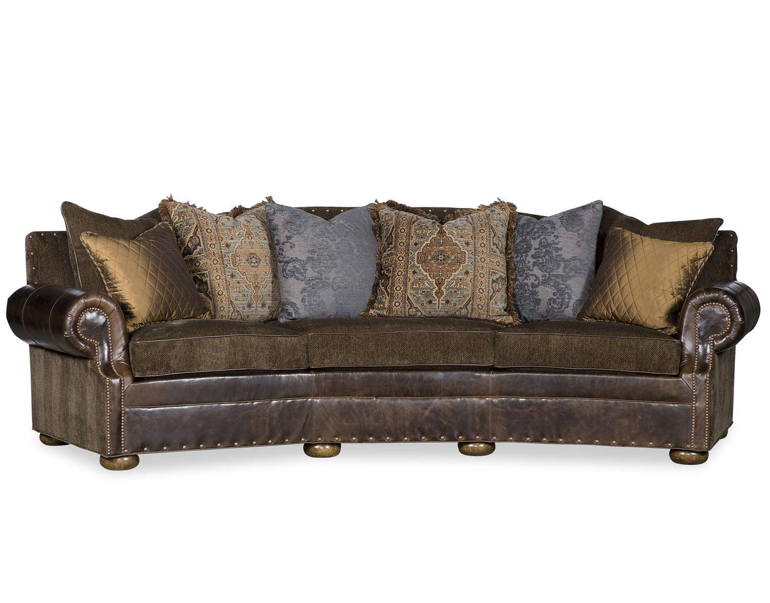 Samuel Curved Sofa Leather and Fabric Combo