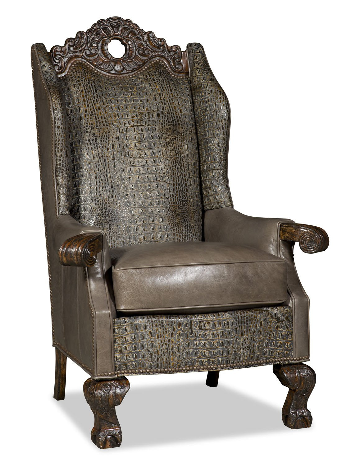 Roxie Leather and Green Croc Kings Chair