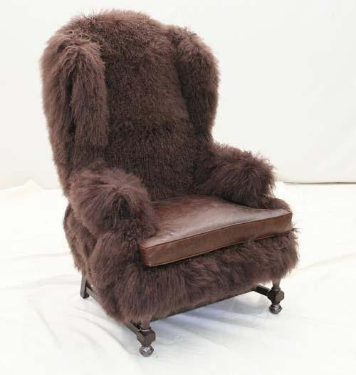 Chocolate Lamb Fur Wing Chair - Old Hickory Tannery