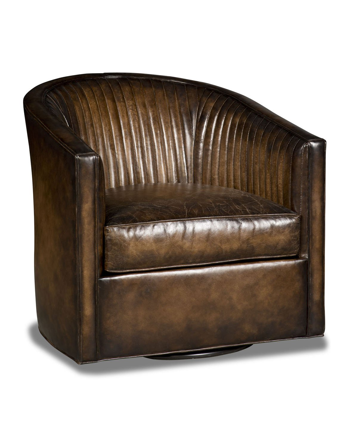 Sadie Swivel Chair With Antique Brown Leather