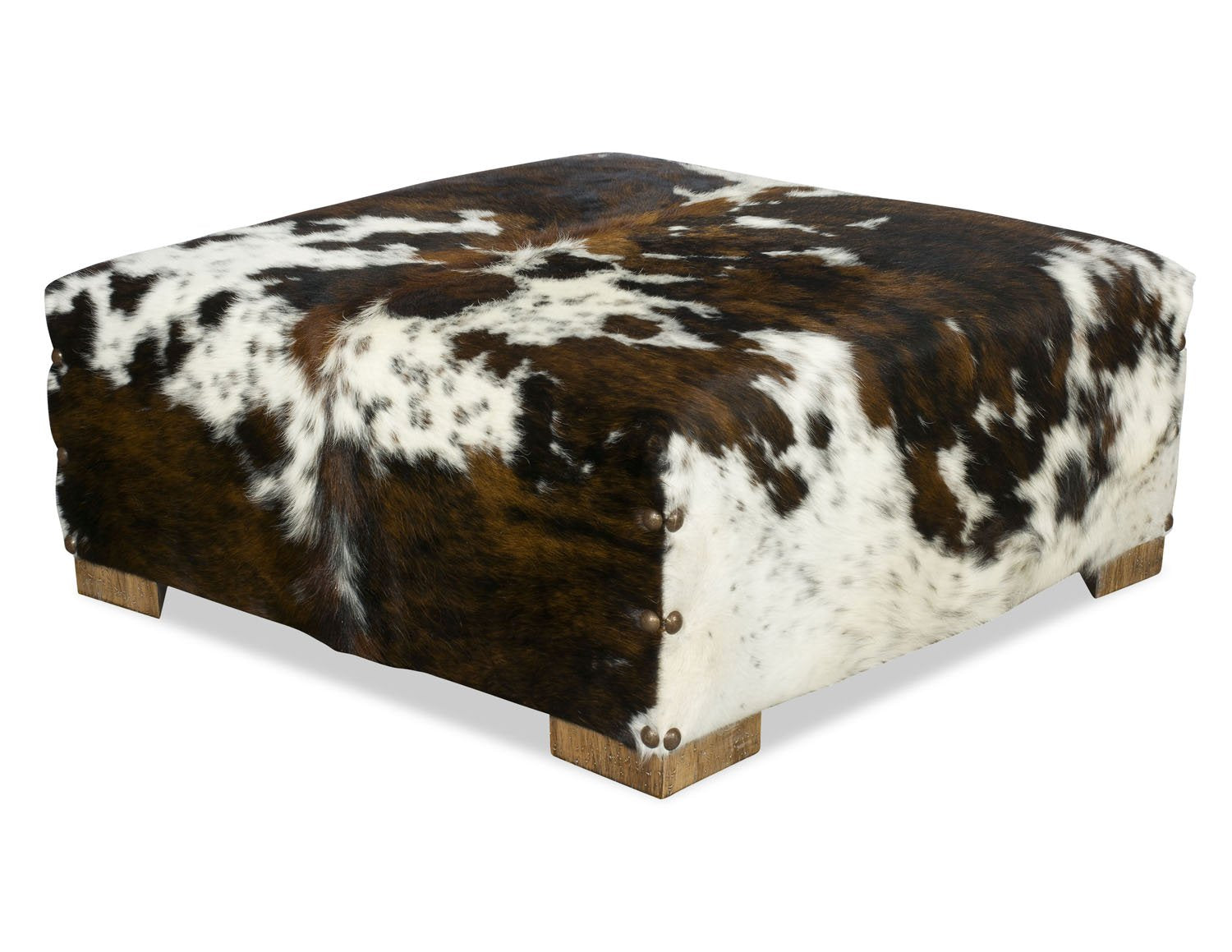 Hobbs Cowhide Ottoman - Tricolor