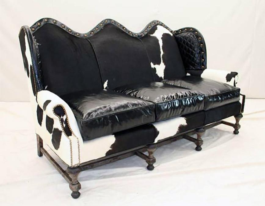 Black and White Cowhide Sofa - Old Hickory Tannery