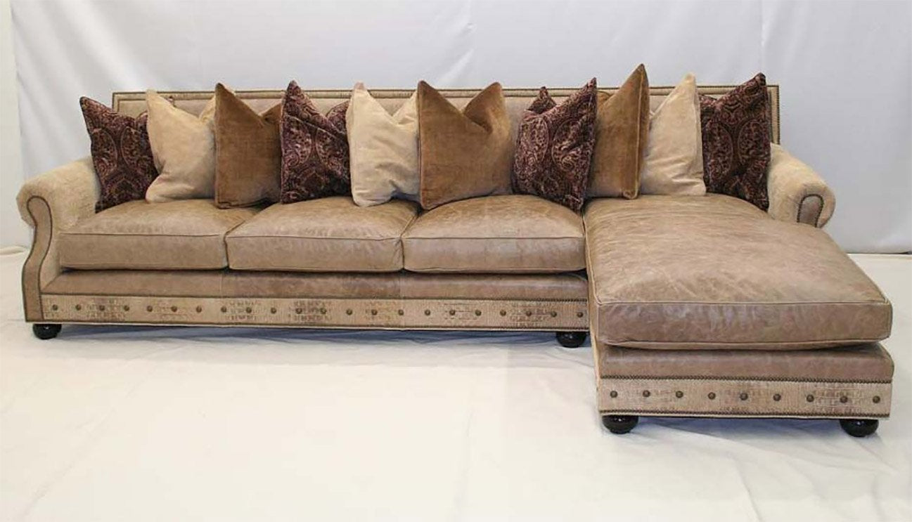 Oatmeal Leather Sofa Chaise - Old Hickory Tannery