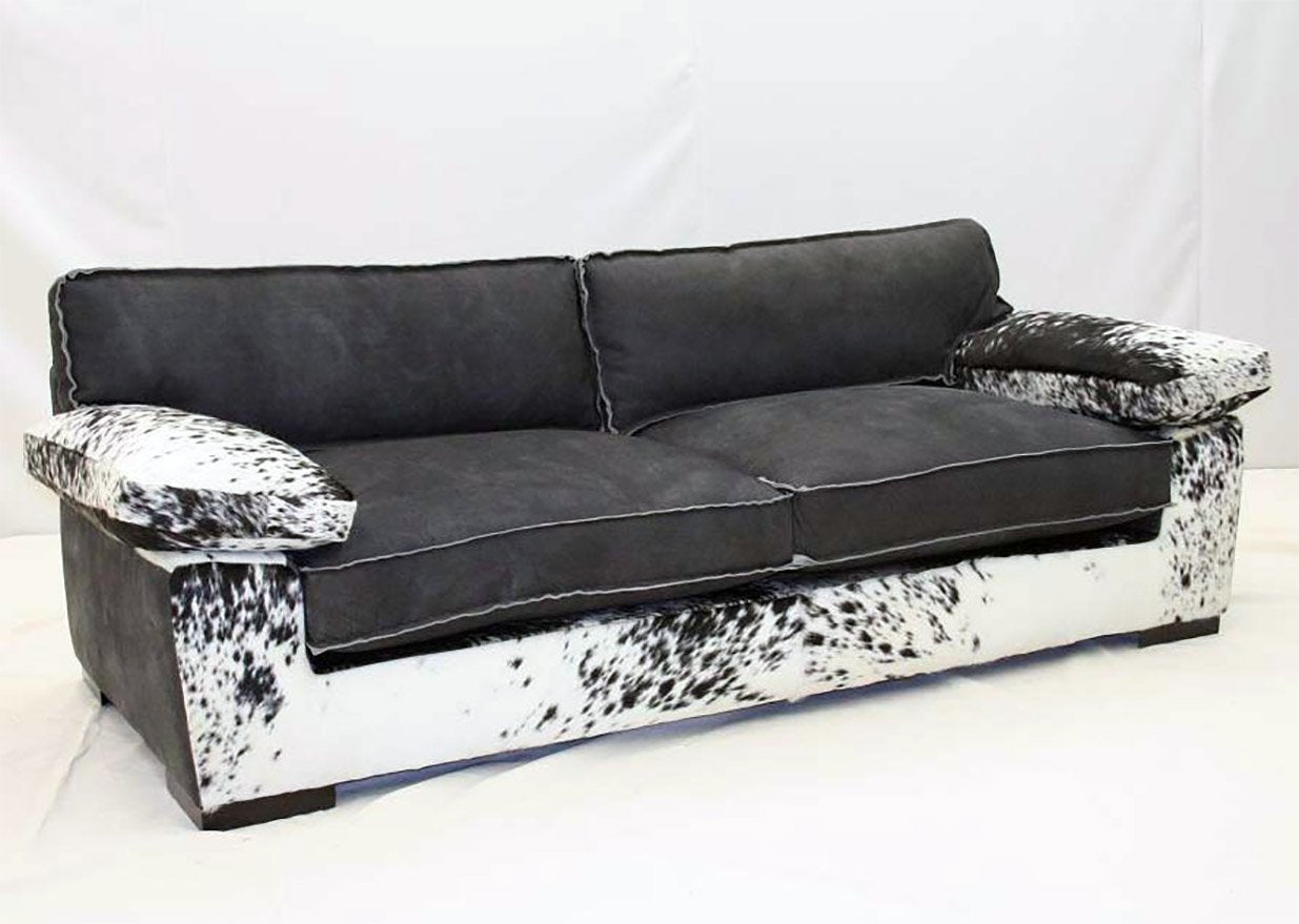 Black Saddle Leather Sofa - Old Hickory Tannery