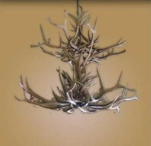 16 Light Double Tier Elk/Mule Deer Antler Chandelier (AWC-15)