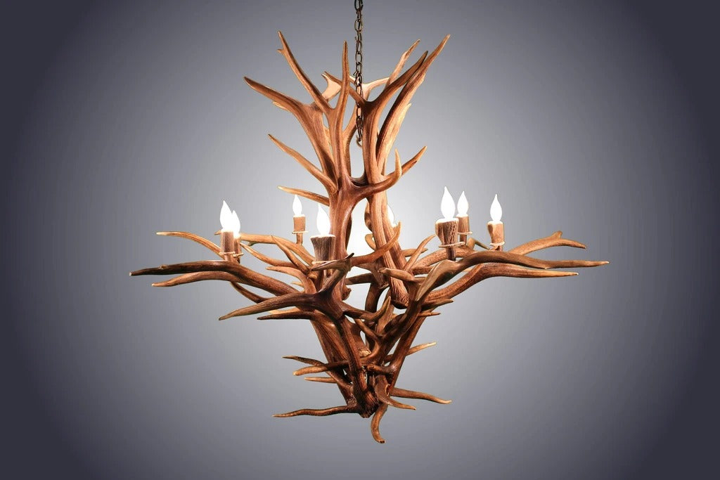 8 Light Inverted Elk Antler Chandelier (AWC-27)