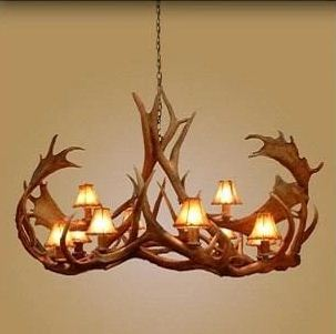 10 Light Elk/Fallow Oval Antler Chandelier (AWC-28)